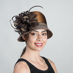 Brown / Glod Stain Ribbon Flower Cloche Hats