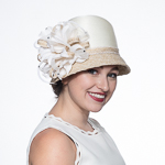 Stain Ribbon Flower Cloche Hats