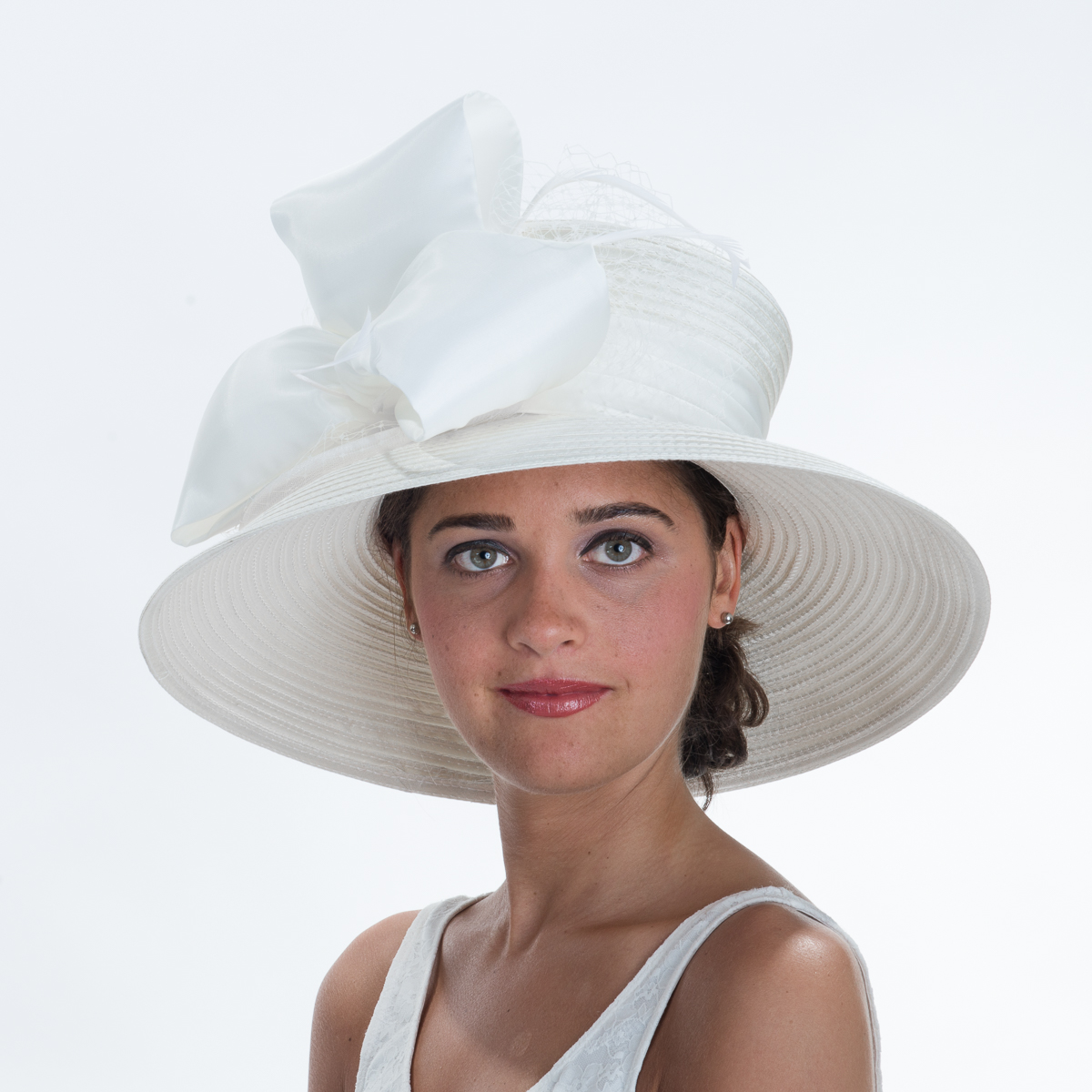 e473b7a50c96a Diamond White Wide Brimmed Bow With Veil Stain Ribbon Hats by Zoria ...