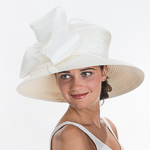 Wide Brimmed Veil Bow Stain Ribbon Hats