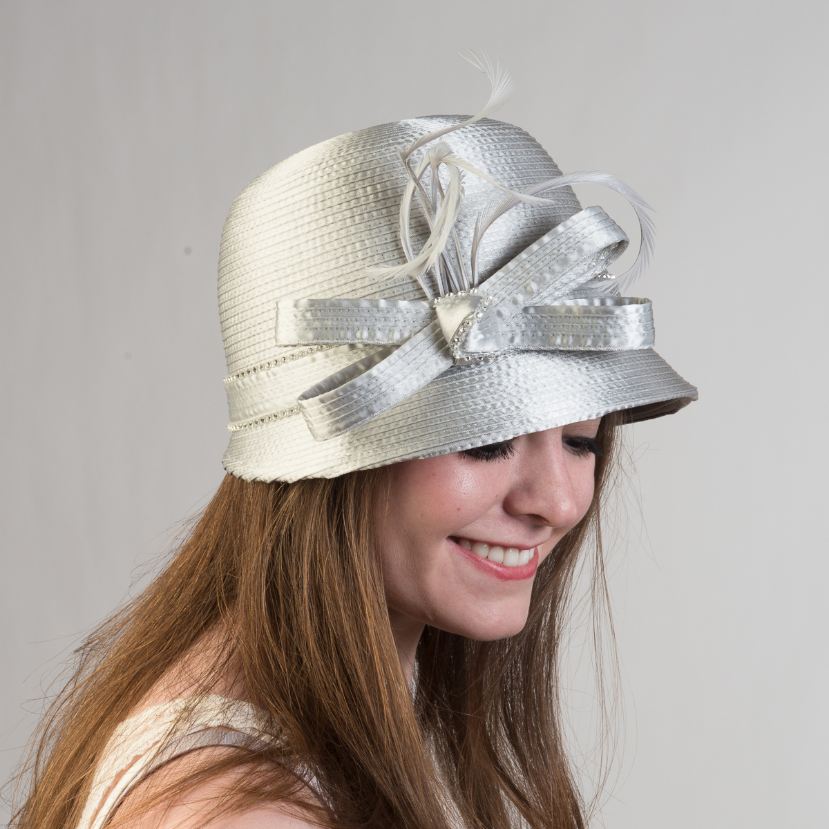 Silver Small Satin Ribbon Cloche Hats-321775-SV- Sun Yorkos  8654d1d791f