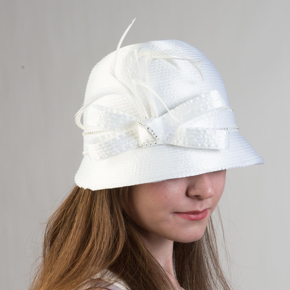 bc1856c1f909c White Small Satin Ribbon Cloche Hats-321775-WT- Sun Yorkos