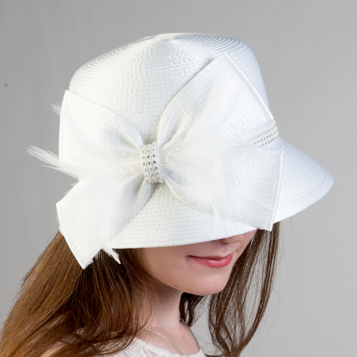 ebaa70a919f White Father And Rhinestone Satin Metallic Bucket Hats-321777-WT ...