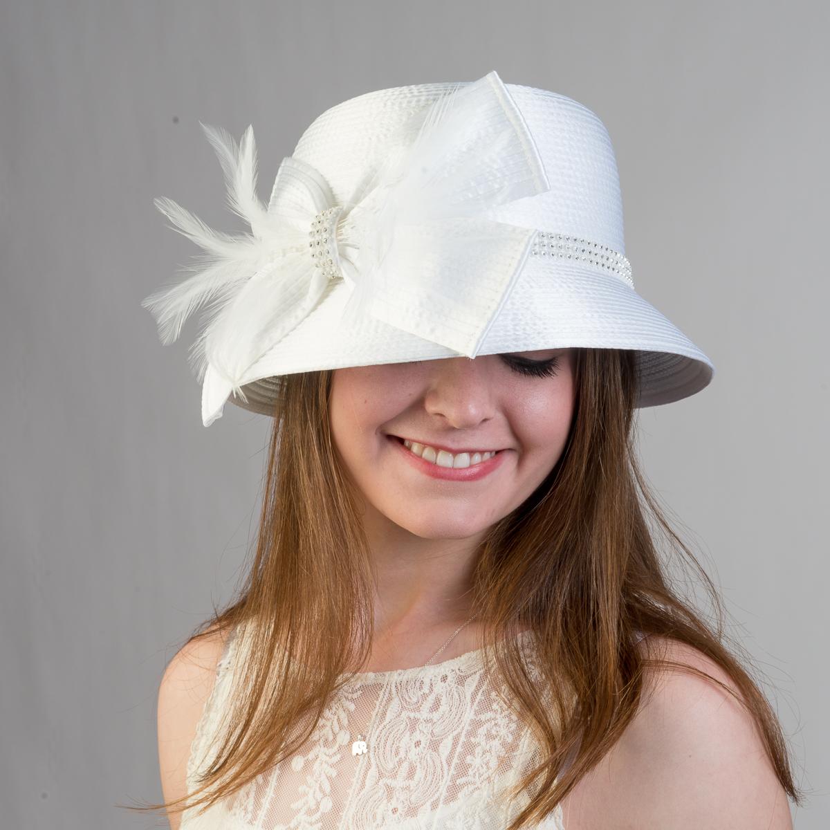 5662fd6c7c8 White Father And Rhinestone Satin Metallic Bucket Hats-321777-WT- Sun  Yorkos