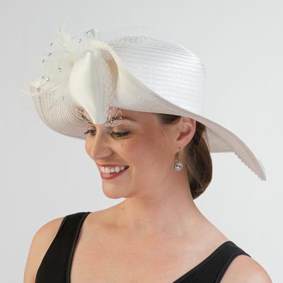 d29bcd622c766 Diamond White Satin Off Face Swinger Hats-321784-WT- Sun Yorkos ...