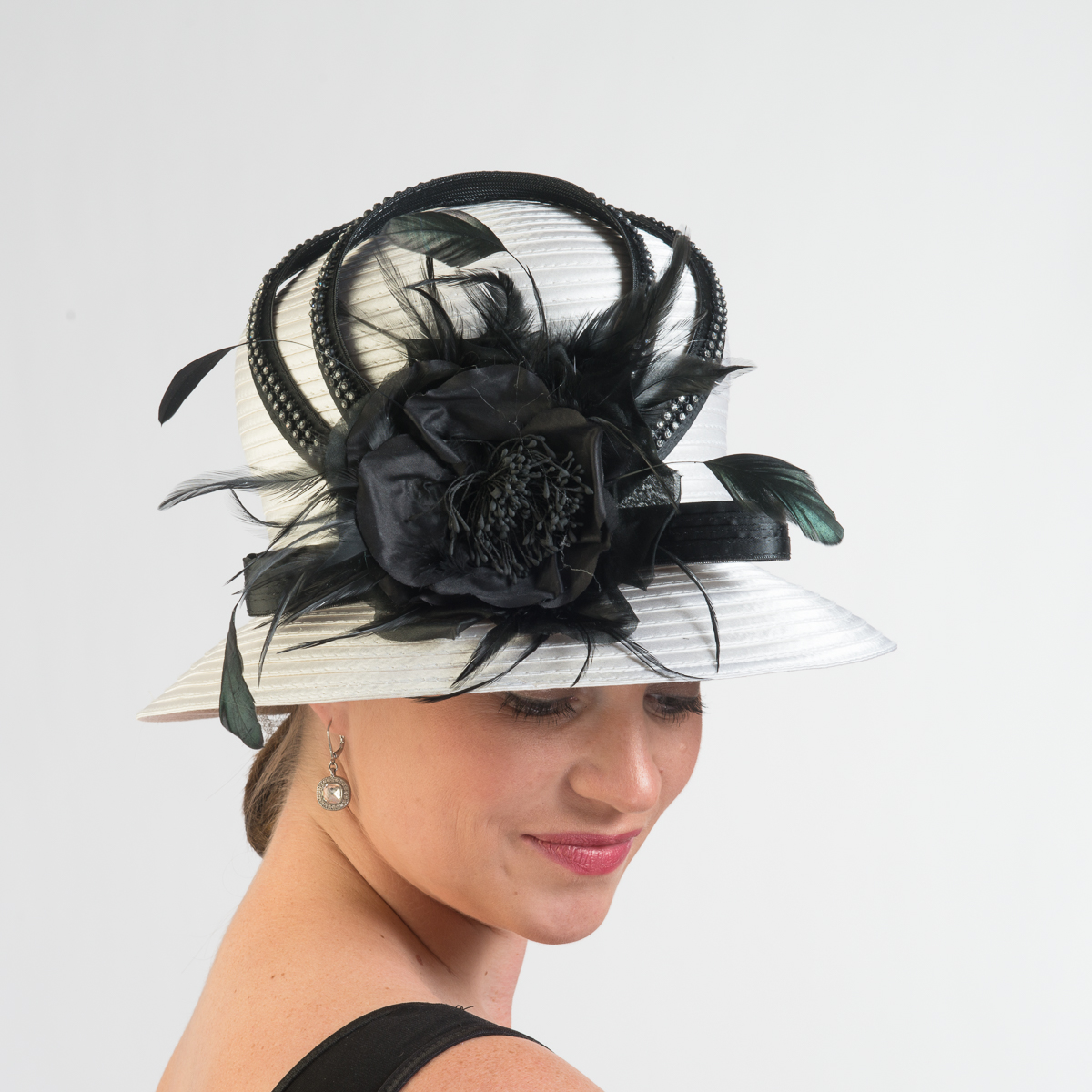 2d18dc2db395c White-Black Satin-Silk Flower Bubble Hat-321793-WT.BK- Sun Yorkos ...