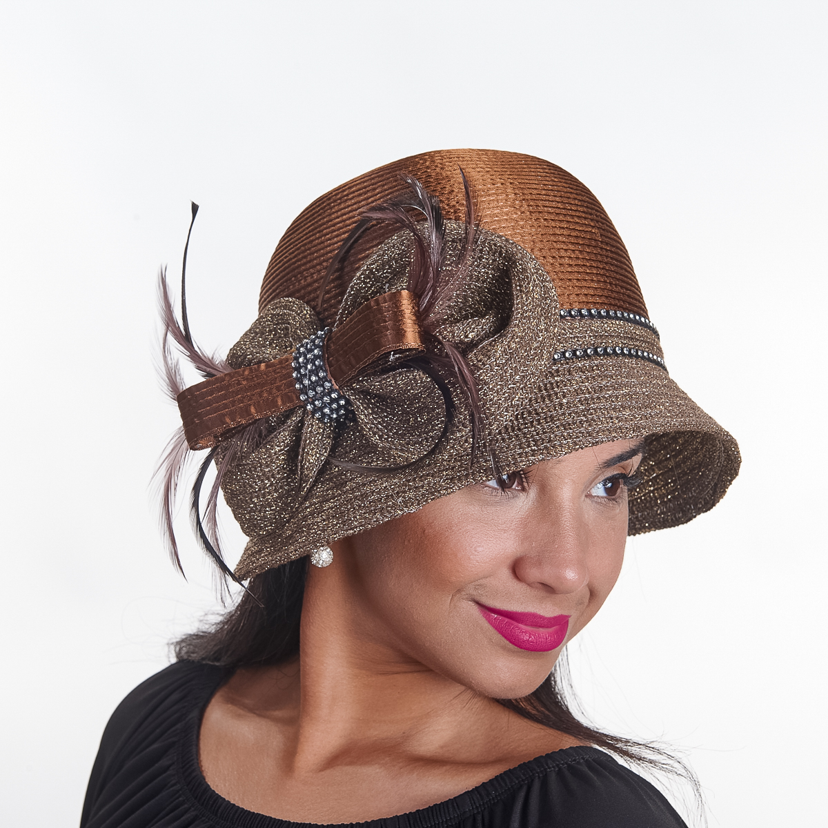 2a2ffe9d Brown / Gold Satin Mixed Braid Cloche-321840-BN.GD- Sun Yorkos | KaKyCo  Accessories