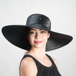 Black Rhinestone Wide Floppy Satin Ribbon Sun Hats 568418603459