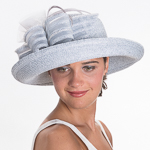 Silver Off Face Feather Self Bow Meta Straw Hats