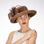Off Face Feather Self Bow Meta Straw Hats
