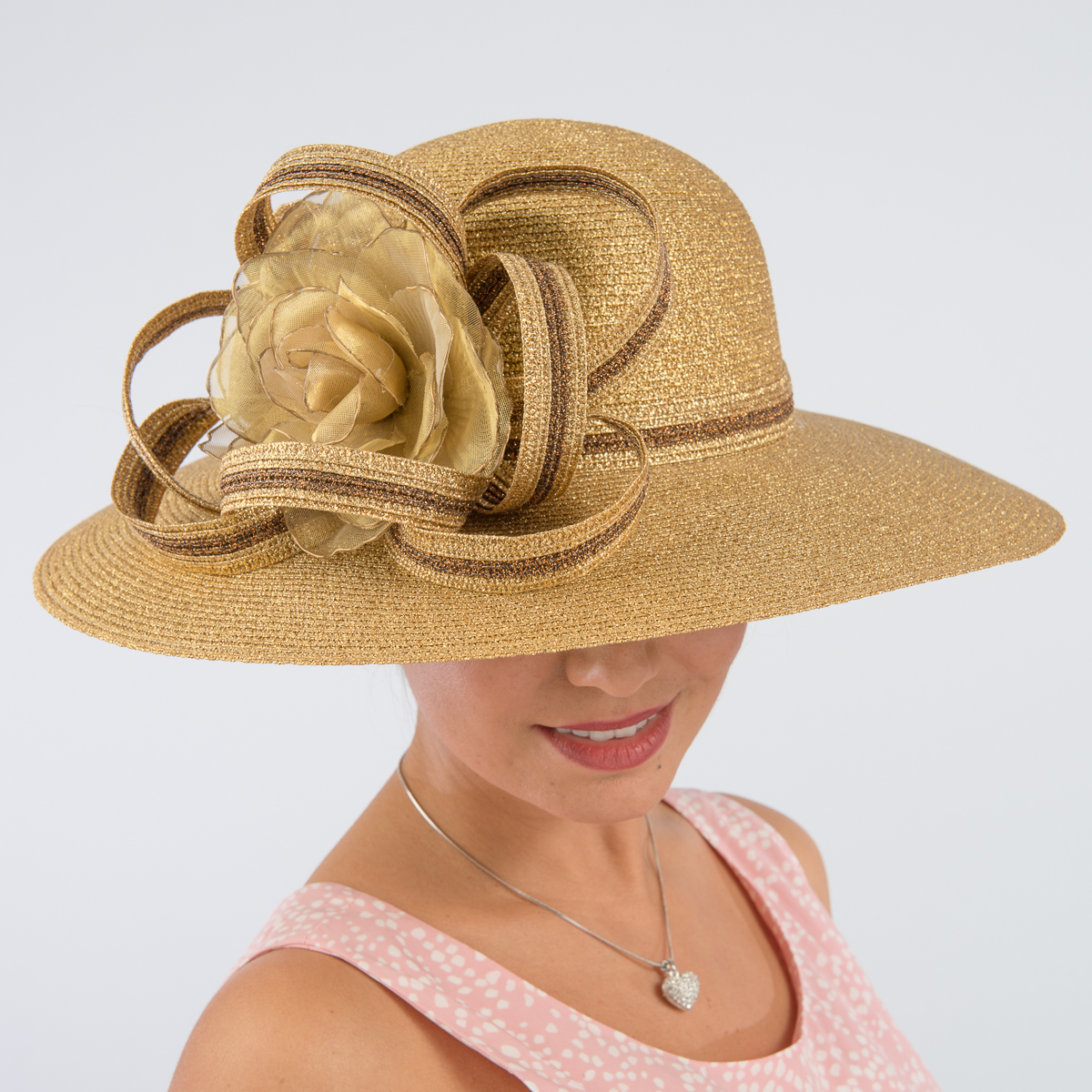 daddbd20 Gold-Copper Metallic Swinger Hat-Floral Hats-331763-GD.CP- Sun ...