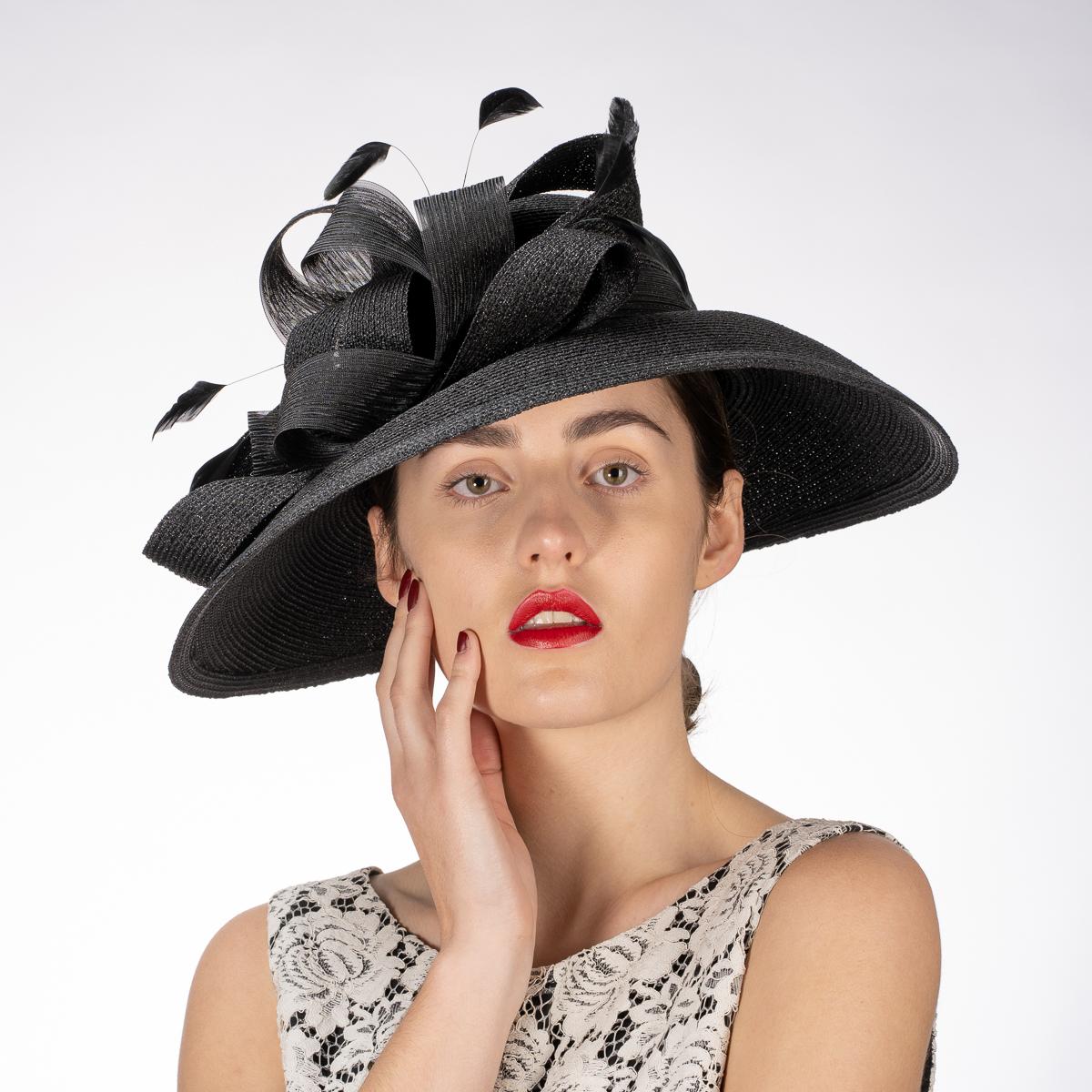 Black Color Metallic Wide-Brimmed Church Hats-331881-BK ...