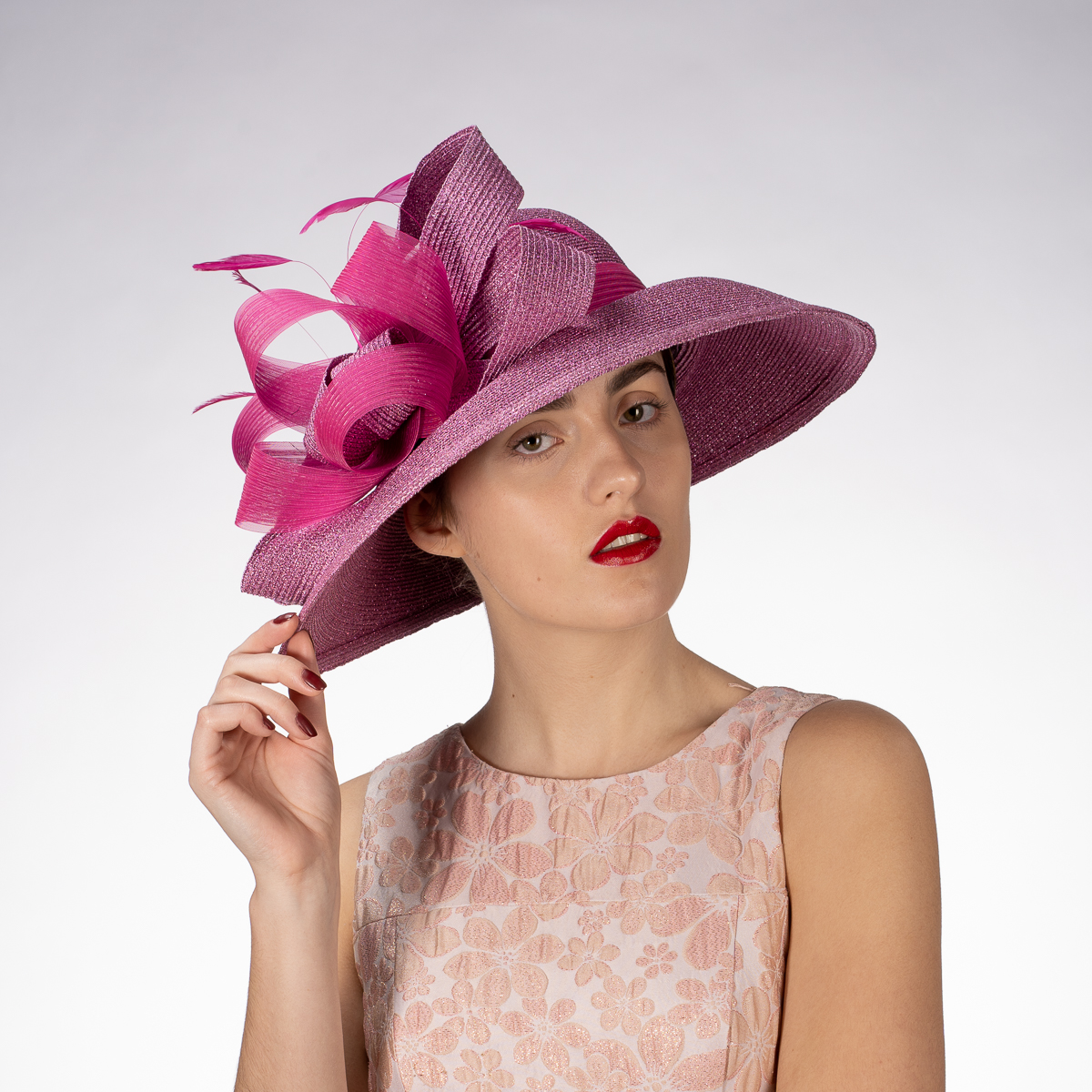 86036c8365 Pink Color Metallic Wide-Brimmed Church Hats - Sun Yorkos