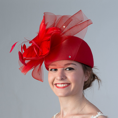 Crinoline Feather Bow Felt Pillbox Hats