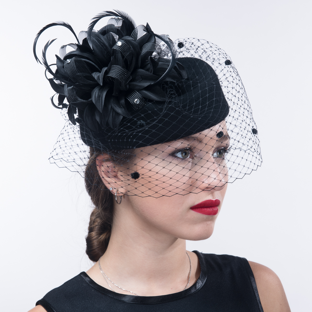 30e0326dd Black Flower Face Veil Pillbox Wool Felt Hats