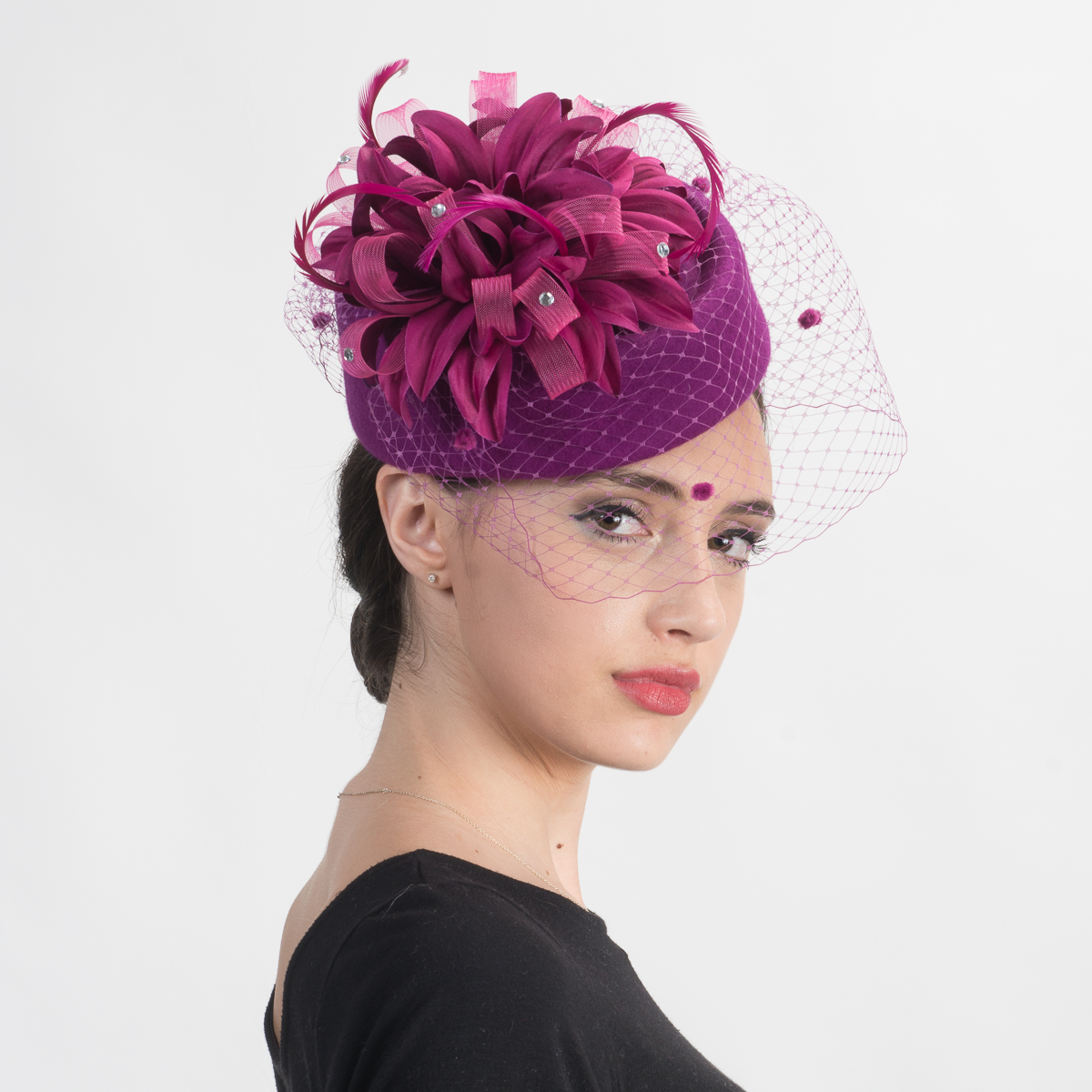 c91a3ba26 Fuchsia Flower Face Veil Pillbox Wool Felt Hats