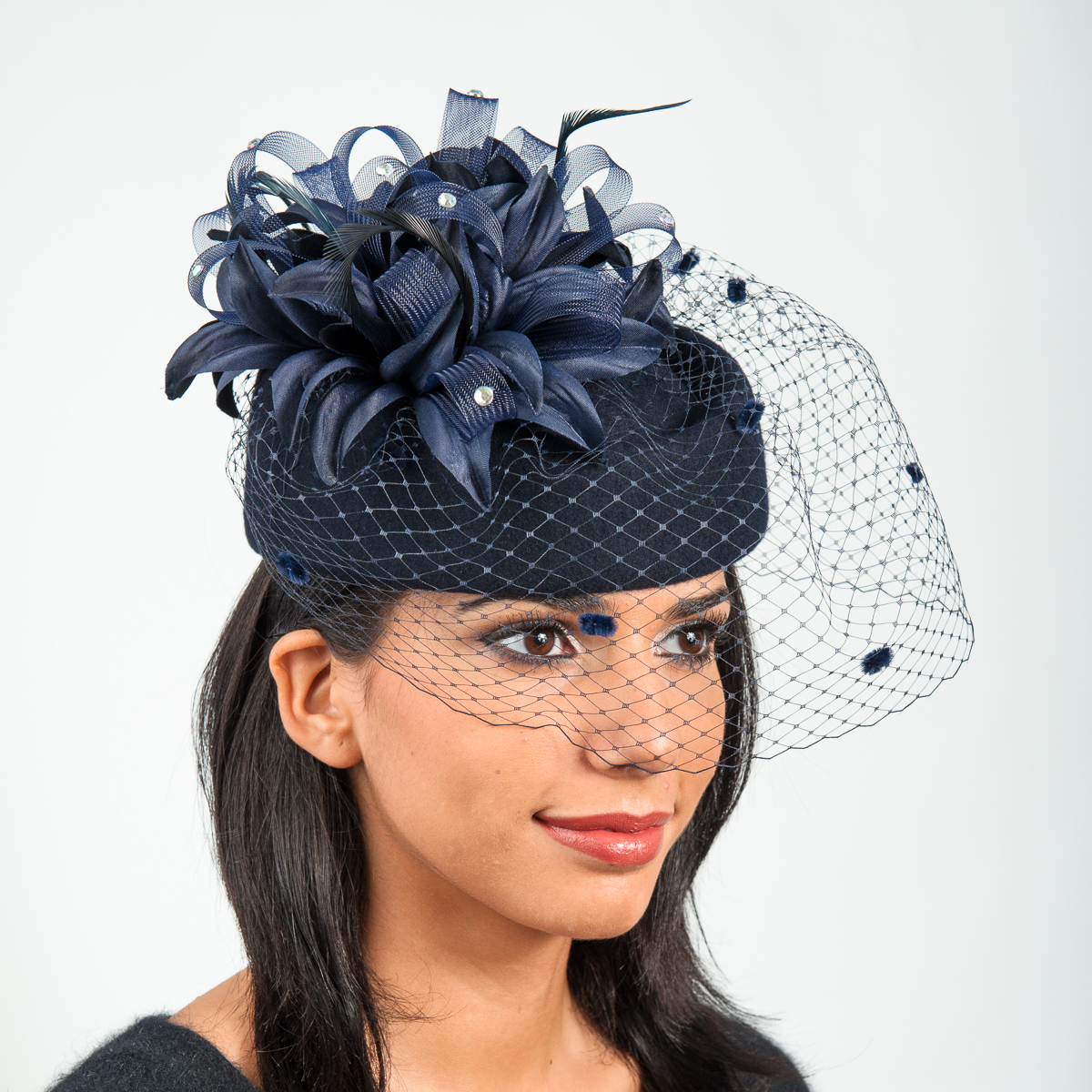 325296371 Navy Flower Face Veil Pillbox Wool Felt Hats