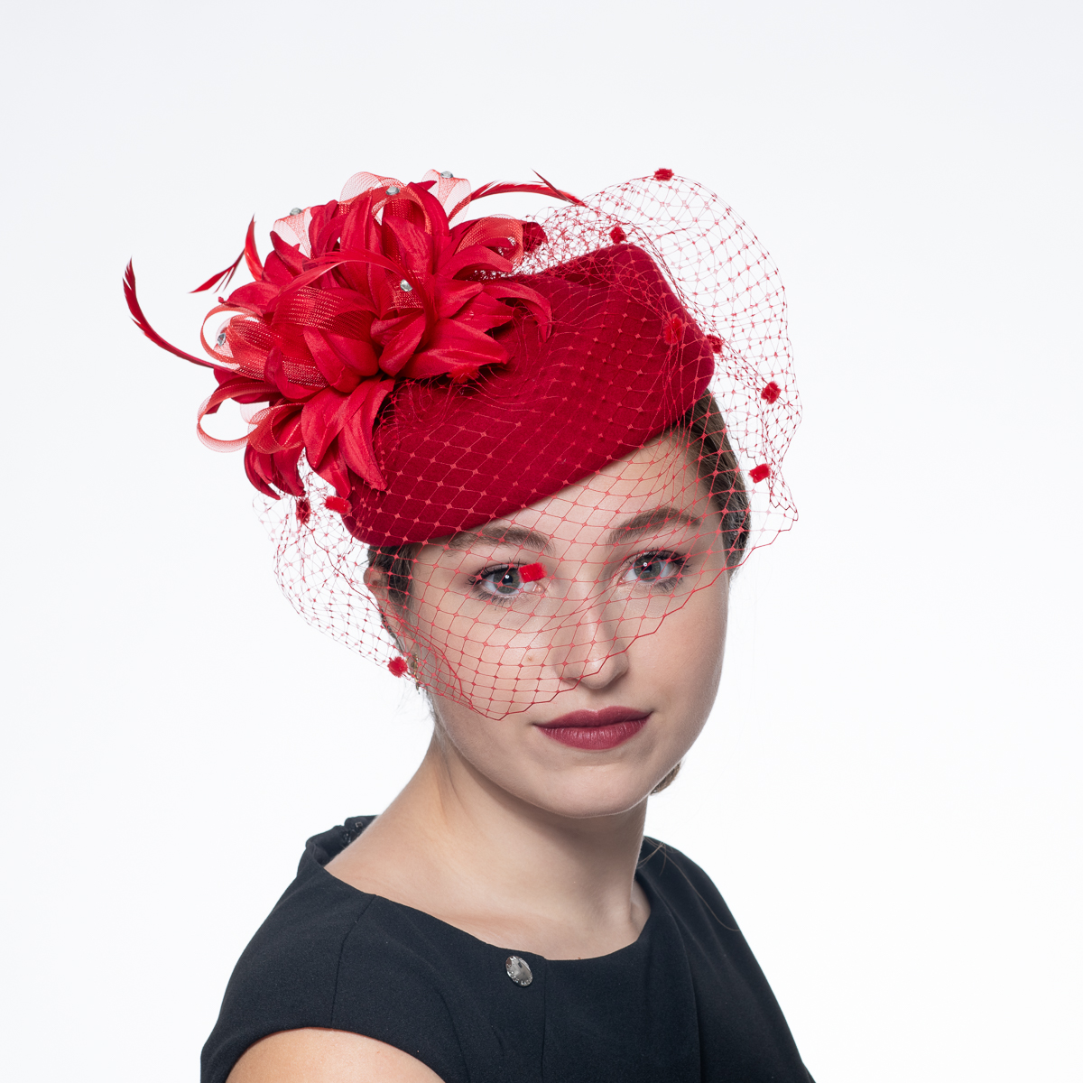 60503617d Red Flower Face Veil Pillbox Wool Felt Hats