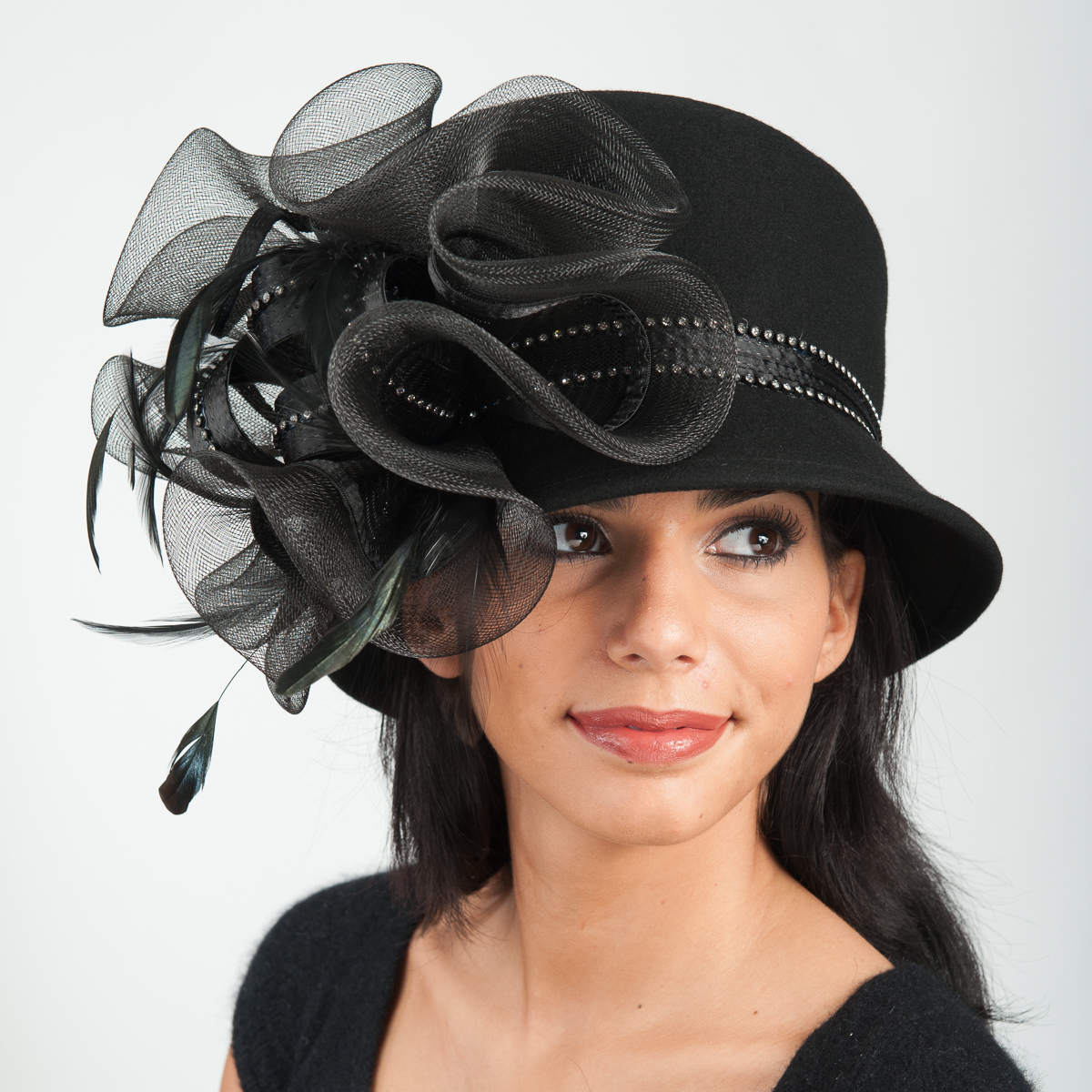 5eed000730a52f Black Mad Hatter Large Crinoline Satin Bow Hats-400601-BK- Sun Yorkos |  KaKyCo Accessories