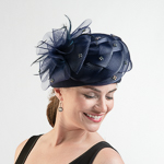Woven Crinoline Flower Bow Pillbox Felt Hats