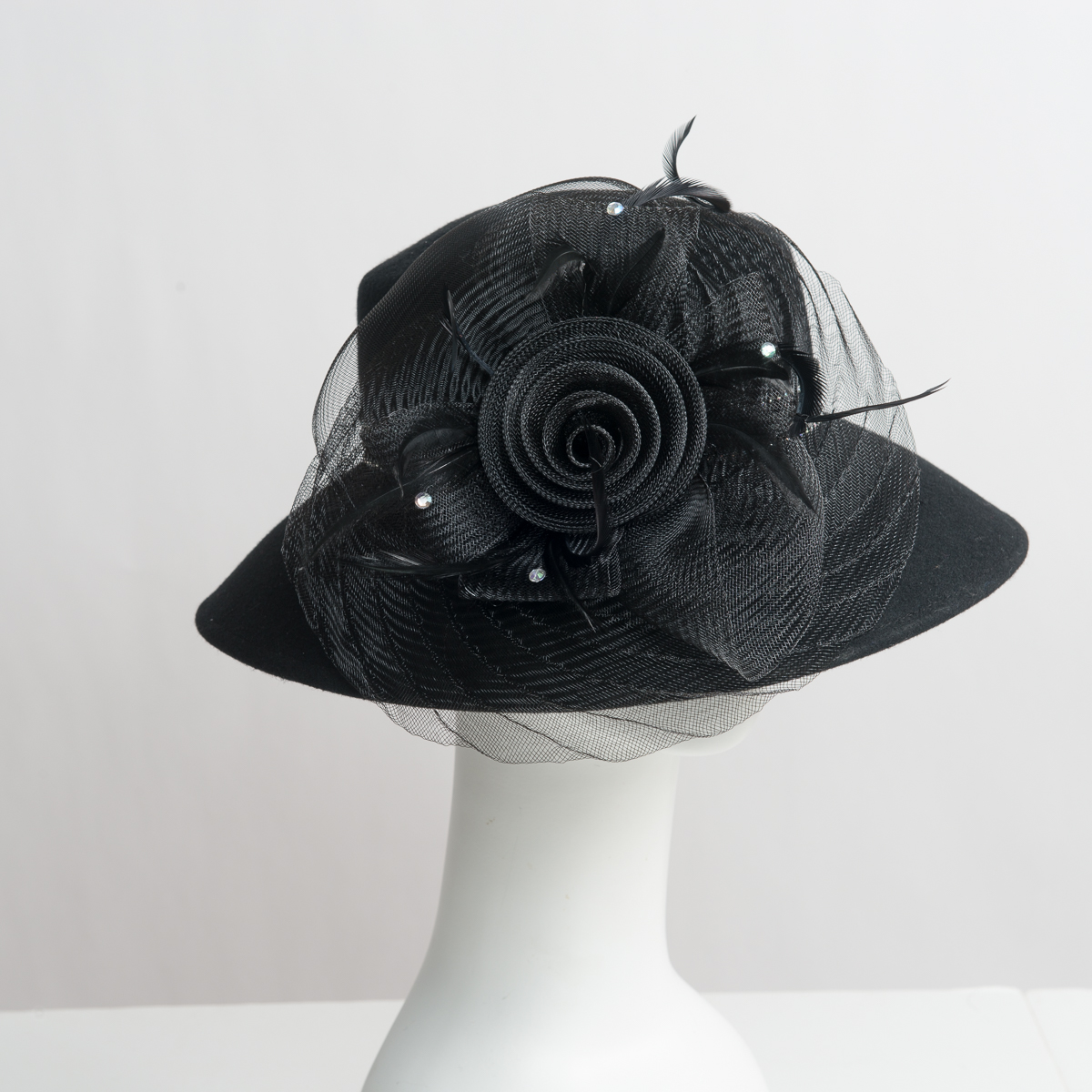 f0220b0006920a Black Lampshade Hat-Crinoline Feather Hats-400612-BK- Sun Yorkos | KaKyCo  Accessories