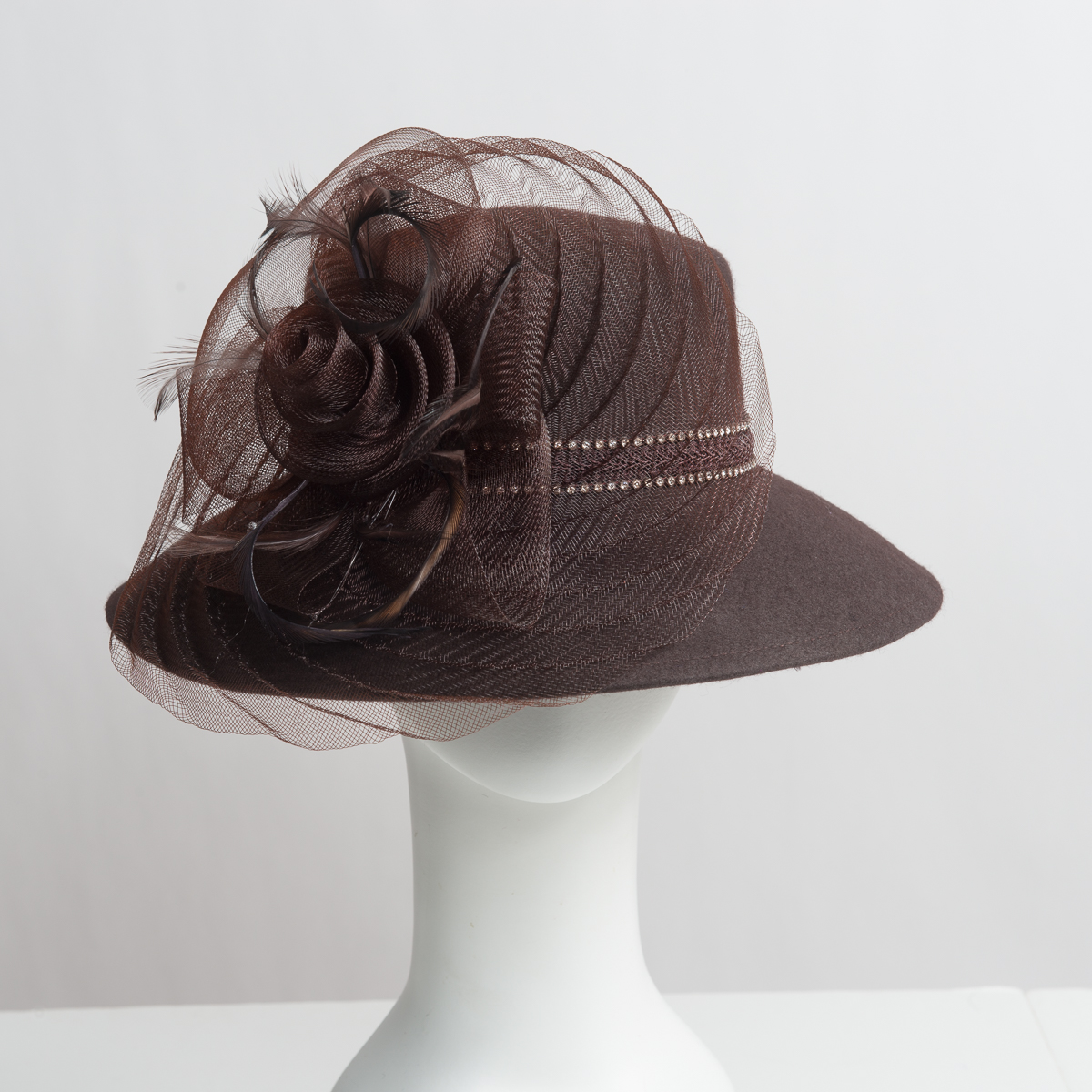 One Pheasant FEATHER PAD Brown//Grey Condor #P80; Headband//Hats//Millinery//Craft