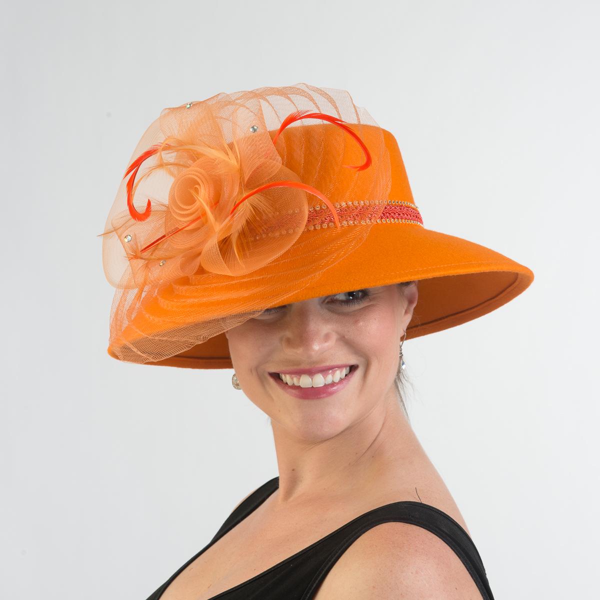 Orange Lampshade Hat Crinoline Feather Hats 400612 Or Sun