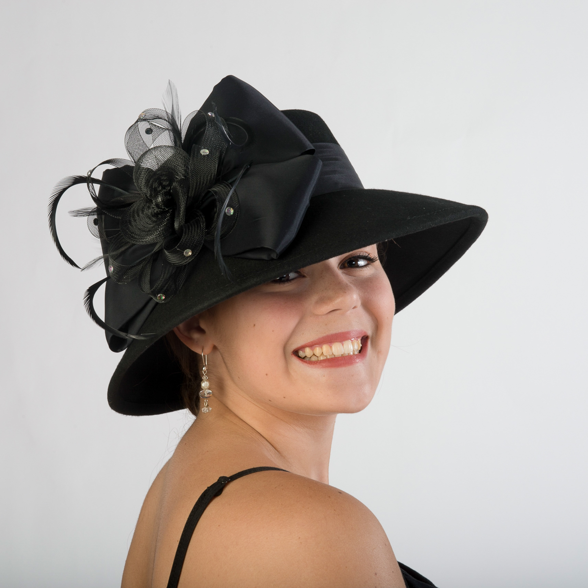 629c75c029252 Black Lampshade Hat-Satin Band-Bow Hats-400627-BK- Sun Yorkos ...