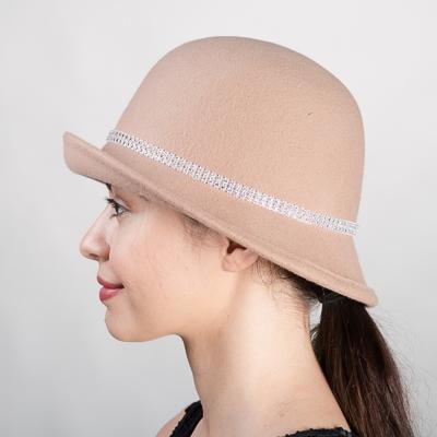 5fbd594c4 Beige Crinoline Bow Felt Cloche Hats