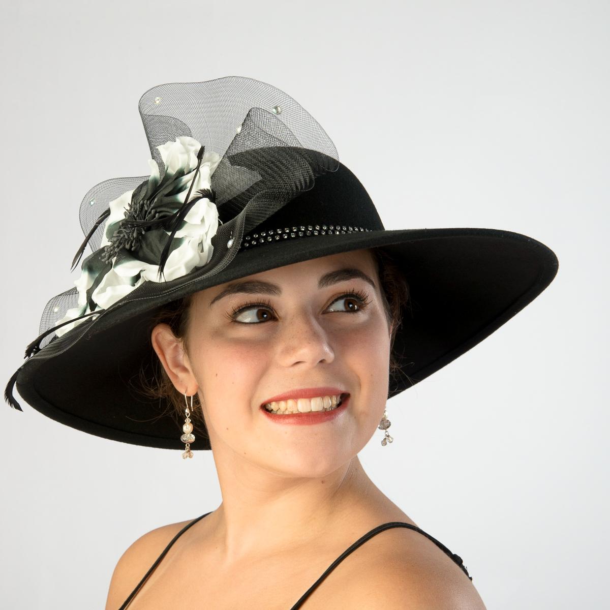 Black Ivory Swinger With Large Silk Flower Hats 400634 Bkiv Sun