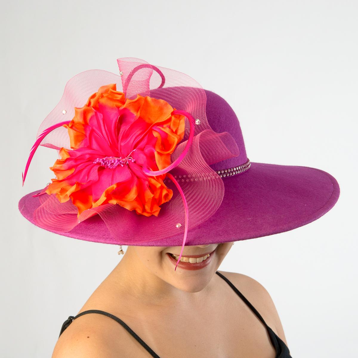 Fuchsia Orange Swinger With Large Silk Flower Hats 400634 Fuor Sun