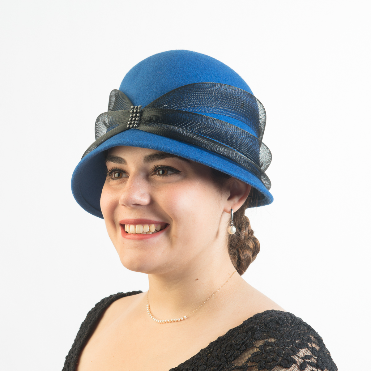 Royal Black Cloche Crinoline Band Hats 400662 Ry Bk Sun