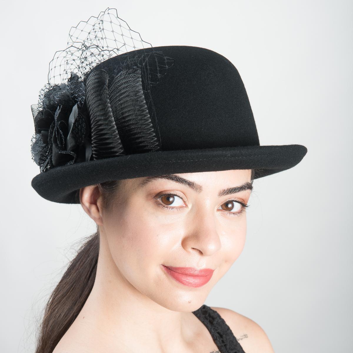48b46593ef11a Black Small Derby-Flower-Veil Hats-400676V-BK- Sun Yorkos | KaKyCo  Accessories