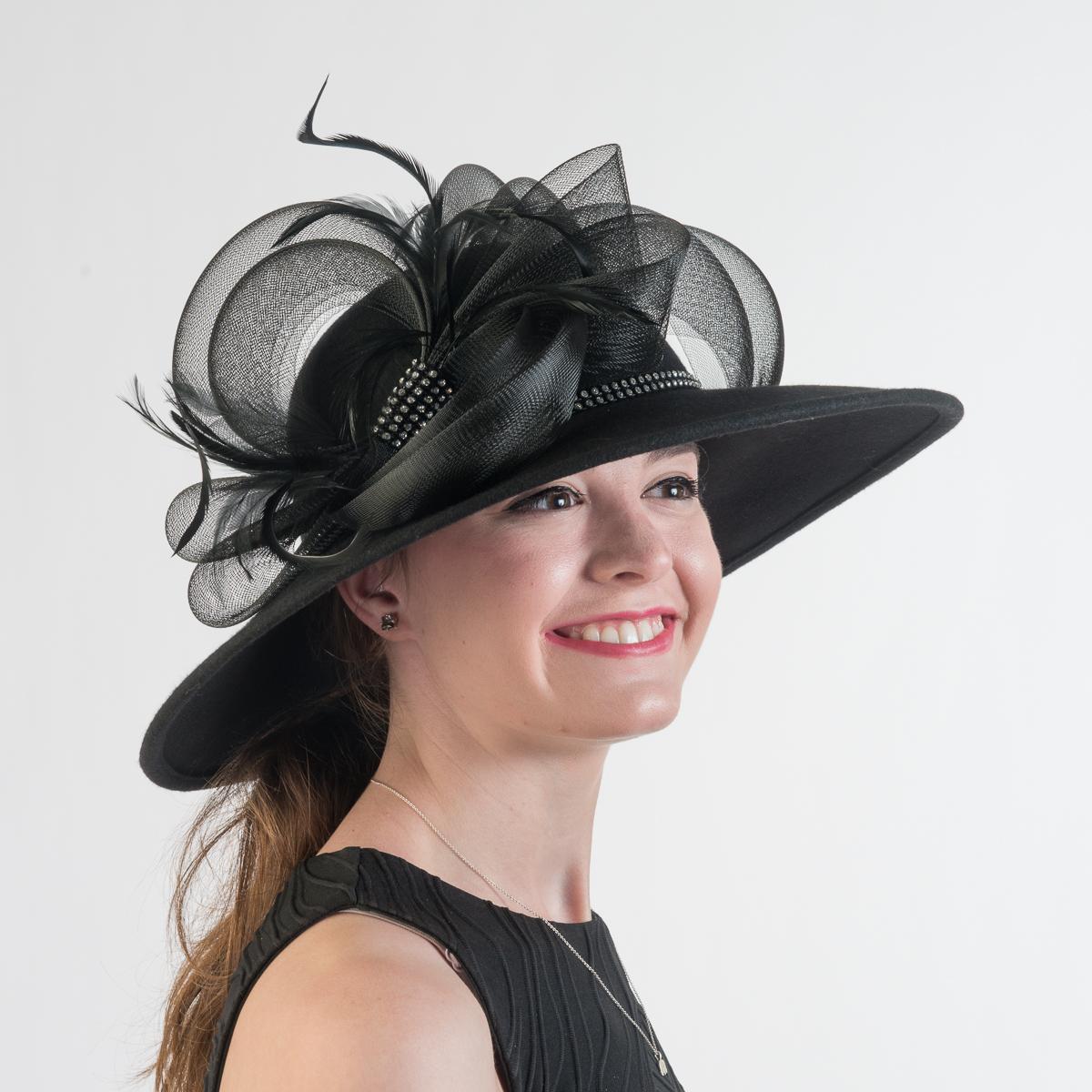 497a1aee079 Black Felight Swinger Crinoline Trim Hats-400687-BK- Sun Yorkos ...