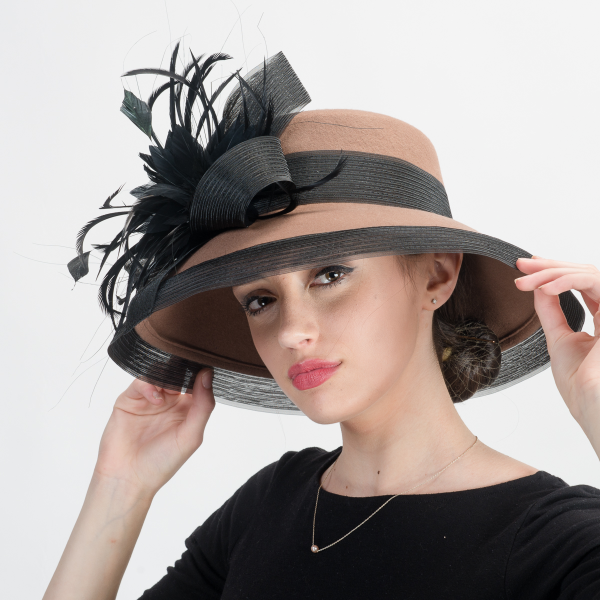 002253ae4d2f1 Mink Black Wool Felt Lampshade Hats-400762-MK.BK- Sun Yorkos ...