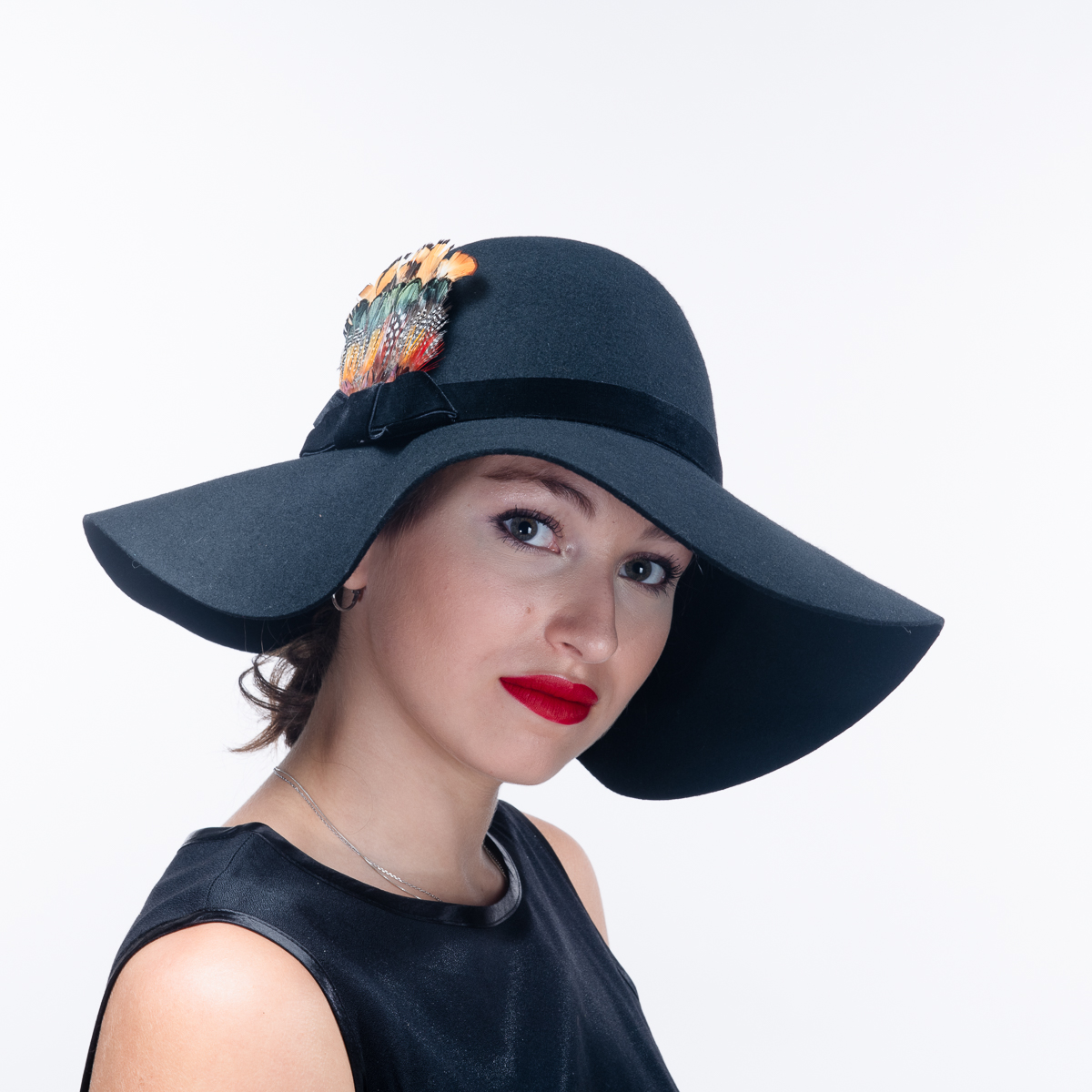 1b3235c8 Black Wool Felt Derby Feather Hats-400764-BK- Sun Yorkos | KaKyCo  Accessories