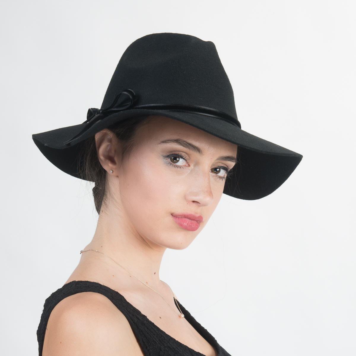 029a3cbc966173 Black Wool Felt Floppy Brim Fedora Hats-400777-BK- Sun Yorkos | KaKyCo  Accessories