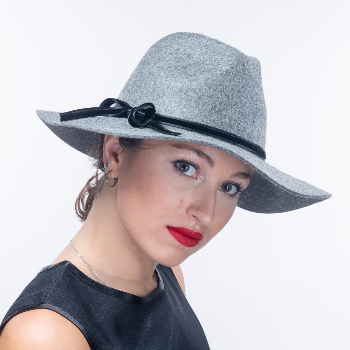 e4a2d9c6 Grey Black Wool Felt Floppy Brim Fedora Hats-400777-GY.BK- Sun Yorkos |  KaKyCo Accessories
