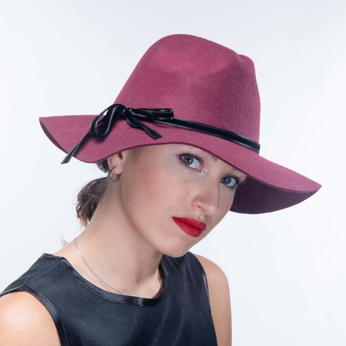 Wine Black Wool Felt Floppy Brim Fedora Hats-400777-WN.BK- Sun Yorkos  272a95b733b