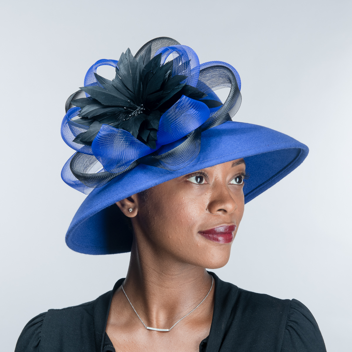 Royal Black Feather Flower Bow Down Brim Wool Felt Hats - Sun Yorkos ... 22b8cbf448b3