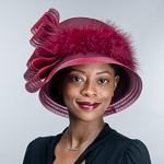 Crin Feather Bow Trim Tall Crown Wool Felt Hats