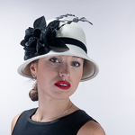 Black Velvet Flower Bow Cloche Wool Felt Hats