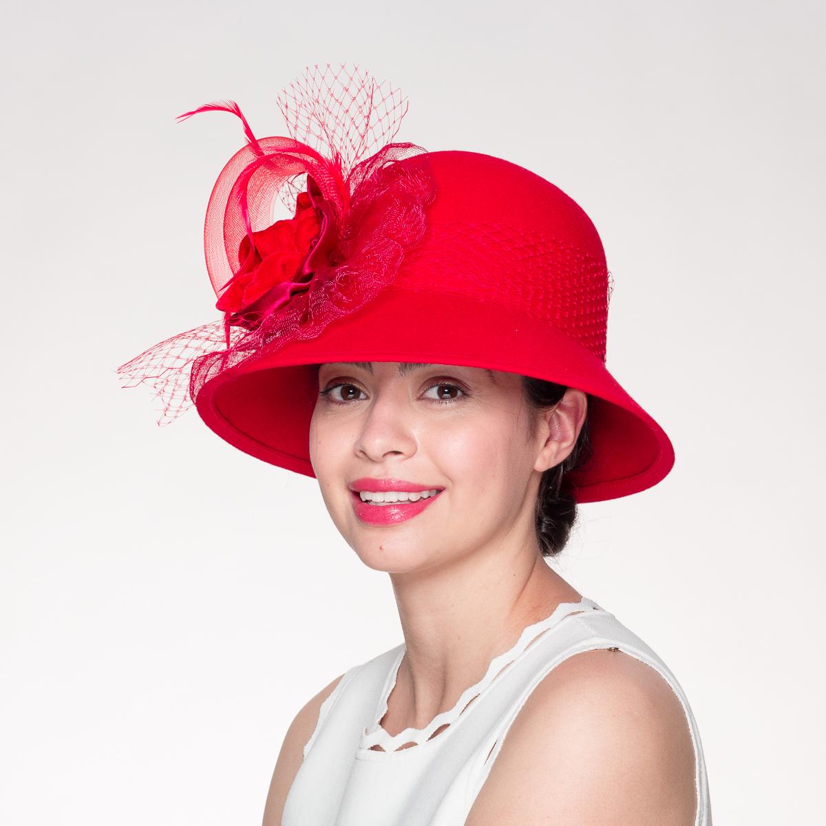Wedding Dress Preservation Uv Protected: Red Velvet Cin Bow Cloche Wool Felt Women's Dress Hats