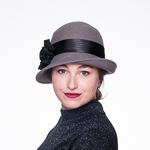 Chiffon Bow Cloche Wool Felt Hats