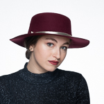 Sailor Wool Felt Hat with Gold Leather Band