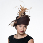 Pillbox Wool Felt Hats With Satin Feather Bow