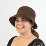 Brown Synthetic Leather Tied Soft Felt Cloche Hats fb02bb88f052