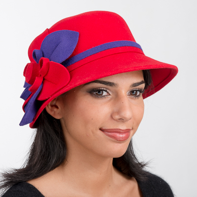 Red / Purple Dual Colored Band And Flower Felt Hats
