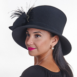 Black Velvet Bow Lamp Shape Felt Hats 853f60401ea7