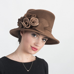 Flower Felt Asymmetric Bucket Hats